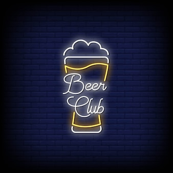 Beer club neon signs style text vector