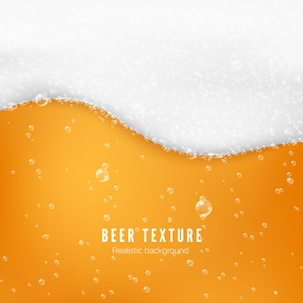 Beer color texture with bubbles and white foam. fresh cold beer flow banner.  illustration