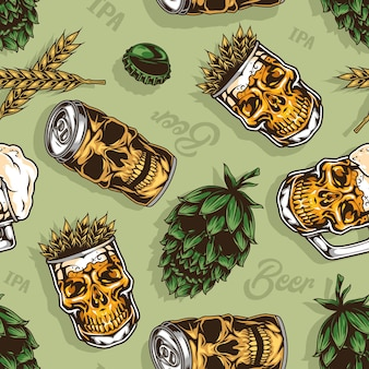 Beer colorful vintage seamless pattern with hop cone aluminum can mug and glass of wheat ears in skull shapes illustration