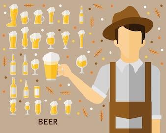 ビールのコンセプト背景。