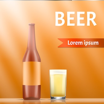 Beer concept banner, realistic style