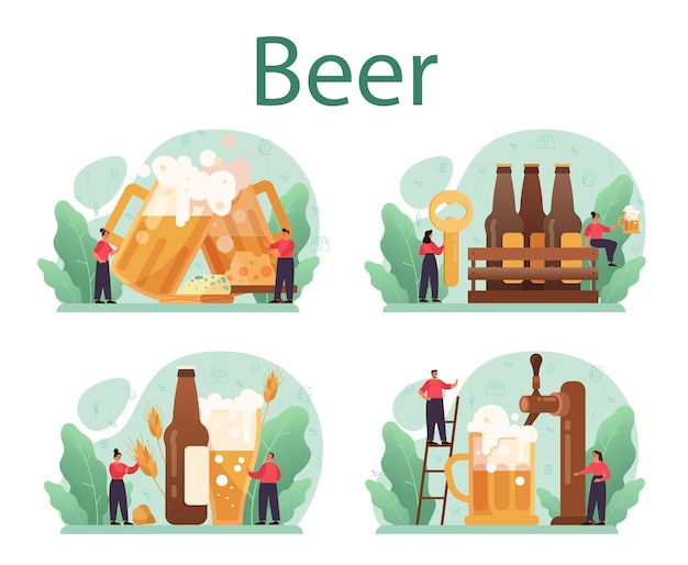 Набор концепции пива. стеклянная бутылка и винтажная кружка с крафтовым алкогольным напитком. меню бара или паба.