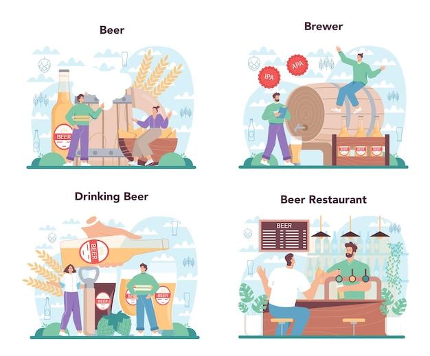 ビールのコンセプトセット。ガラス瓶とクラフトアルコールドリンク付きのヴィンテージマグカップ。クラフトビールの生産。バーまたはパブメニュー。分離されたフラットベクトル図