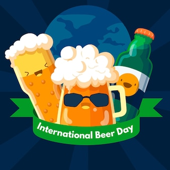 Beer day celebration with mugs flat design