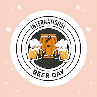 Beer day emblem with barrel