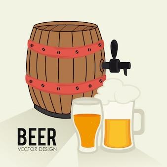Beer design over beige background