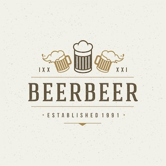 Beer design element in vintage style for logotype