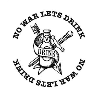 リボンの矢印とブレードのビール飲み物の瓶
