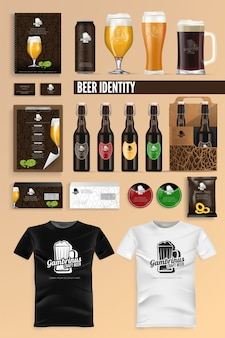 Beer drink identity brand mockup set vector.