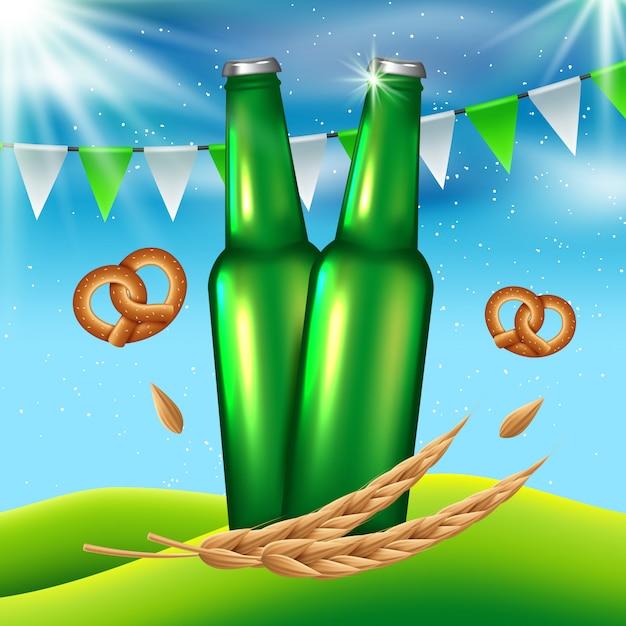 祭りの背景でビールを飲む