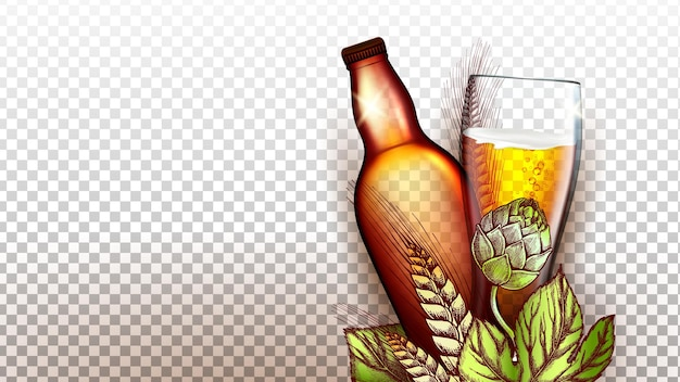 ビール飲料製品ガラスと空のボトルのベクトル。ビール、パッケージ、ガラス製品を醸造するための小麦と麦芽植物の天然成分。アルコール泡沫飲料生産テンプレート3dイラスト