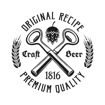Beer emblem with two crossed bottle openers isolated on white