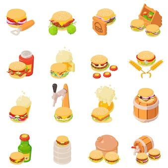 Beer evening icons set, isometric style