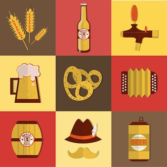 Beer fest oktoberfest icon set festival holiday collection