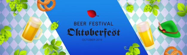 Beer festival banner with oktoberfest hat, beer mugs