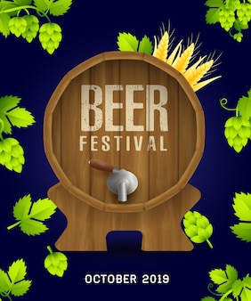 Beer festival banner with realistic hops and leaves