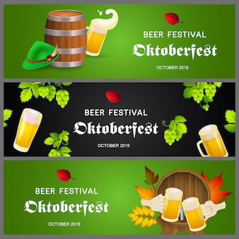 Beer festival banners on green and black