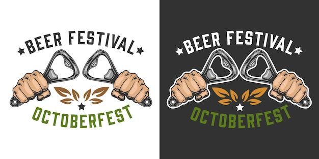 Beer festival colorful badge with male hands holding bottle openers in vintage style isolated