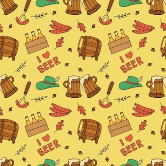 Beer festival doodle seamless background