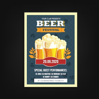 Beer festival flyer template vintage