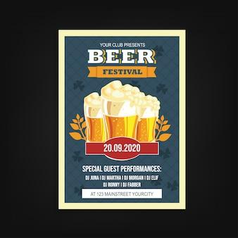 Beer festival flyer template vintage
