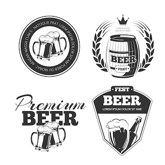 ビール祭りのロゴセット。ボトルビール、パブビール、飲料ビールのロゴ