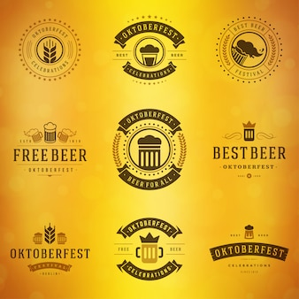 Beer festival oktoberfest labels, badges and logos set