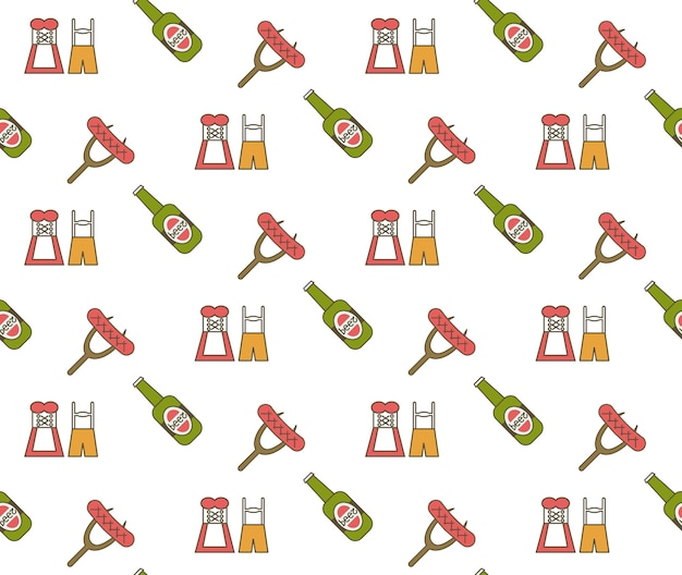 Beer festival oktoberfest party celebration concept seamless pattern greeting card vector illustration