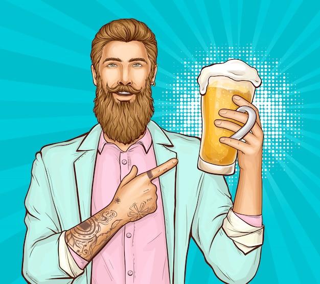 Пивной фестиваль поп-арт иллюстрация с хипстером