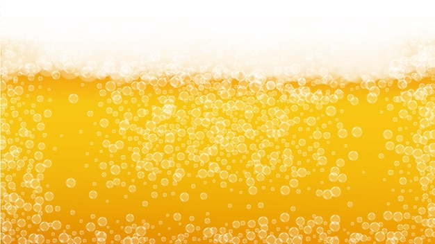 Beer foam. craft lager splash. oktoberfest background. restaurant banner template. fresh pint of ale with realistic white bubbles. cool liquid drink for gold jug with beer foam.