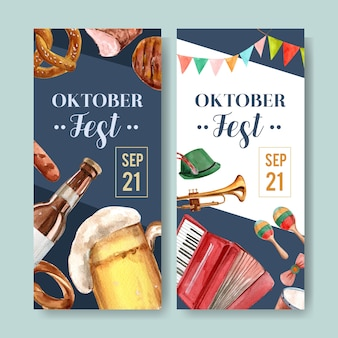 Beer, food and musical instruments flyer for oktoberfest design
