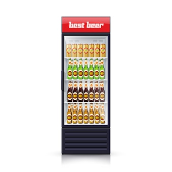 Beer fridge dispenser realistic illustration icon
