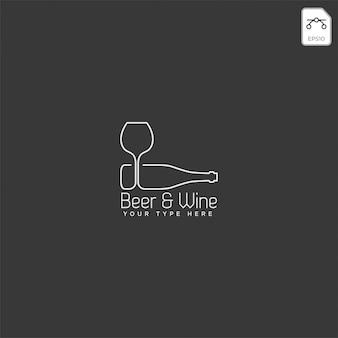 ビールのグラスとボトルのクリエイティブなロゴのテンプレート、アイコンの要素