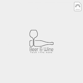 Beer glass and bottle creative logo template, icon element