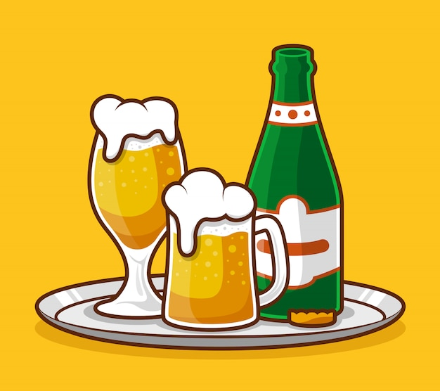 Beer glass and bottle flat design