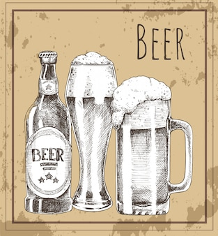 Beer glass, bottle and mug vintage promo poster