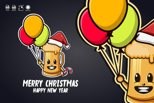 Beer glass carry balloons merry christmas cute mascot character logo design