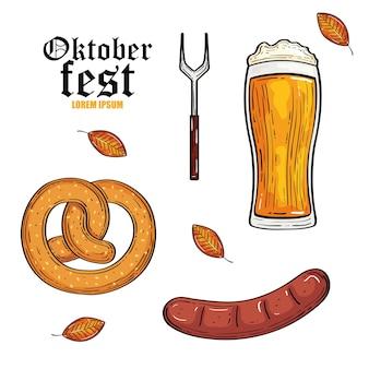 Пивной стеклянный крендель вилки и дизайн колбасы, фестиваль октоберфест в германии и тема празднования