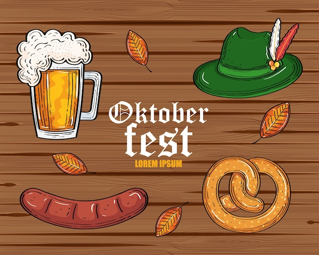 Пивной стакан шляпа крендель и дизайн колбасы, фестиваль октоберфест в германии и тема празднования