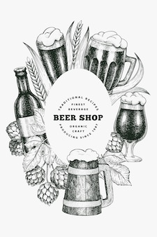 Beer glass mug and hop design template. hand drawn   pub beverage illustration. engraved style. retro brewery illustration.