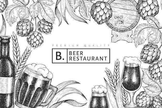 Beer glass mug and hop template.