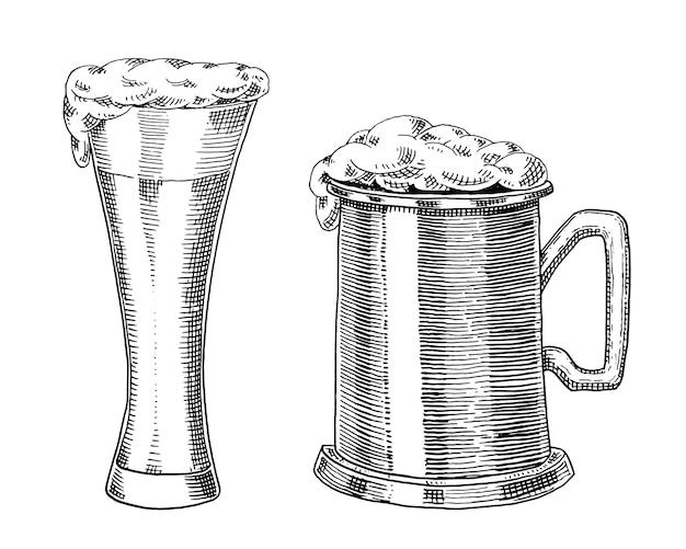 ビールグラス、マグカップ、オクトーバーフェストのボトル。古いスケッチとweb、パーティーやパブメニューへの招待状のビンテージスタイルで描かれたインクの手で刻まれました。