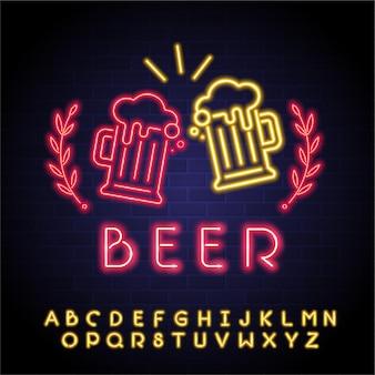 ビール グラス ネオン ライト光るビール乾杯アイコンとネオン アルファベット光る