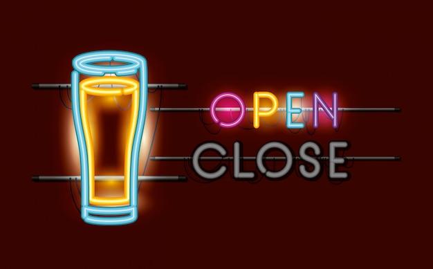 Beer glass neon light