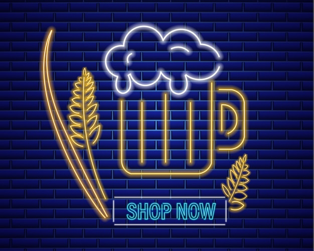 Beer glass neon sign