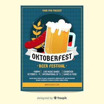 Beer glass oktoberfest poster template