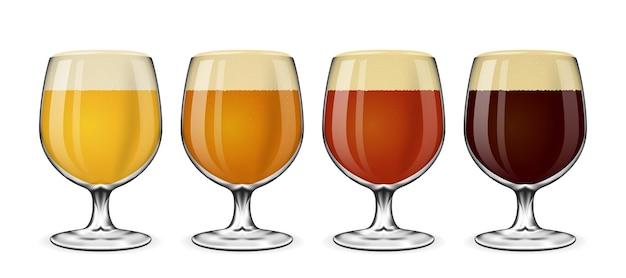 ビアグラスセット。白地にラガーとエール、琥珀色とスタウトのビールのグラス。ガラスのイラストでビールを飲む