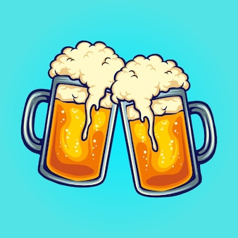 Beer glass two party joint vector illustrations for your work logo, mascot merchandise t-shirt, stickers and label designs, poster, greeting cards advertising business company or brands.