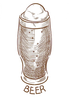 Beer glass vector sketch hand drawing