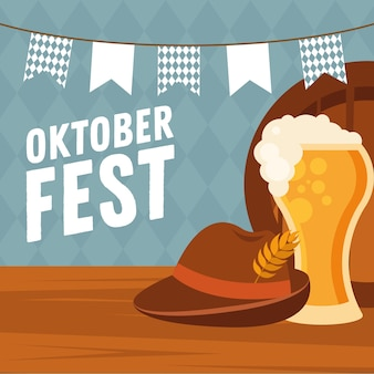 Beer glass with hat and banner pennant design, oktoberfest german festival and celebration theme